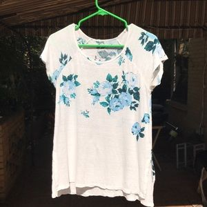 Lucky Brand white and blue flower top